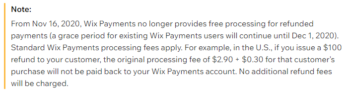 no refund wix